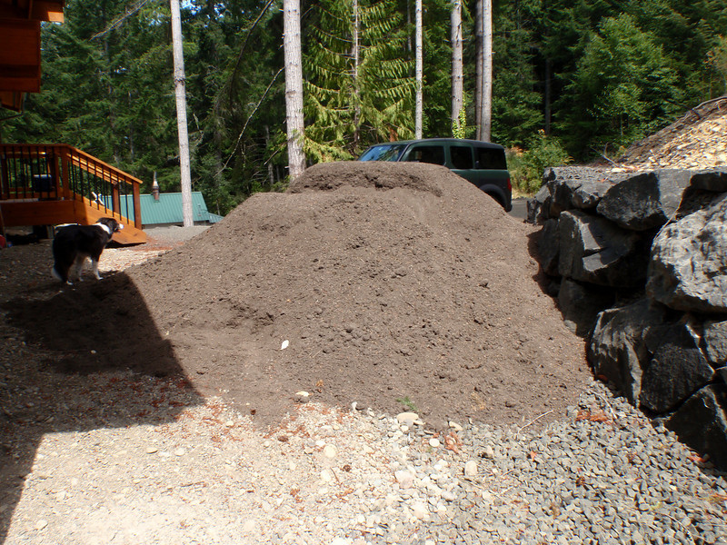 There were two double-stacks like this in the back yard.    35 cubic yards of soil total.