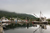 Hartley Bay harbour in the morning mist with boats, Hartley Bay, British Columbia
