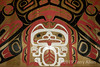 Close-up, beautiful Giga'at spirit bear design in the longhouse, Hartley Bay, British Columbia