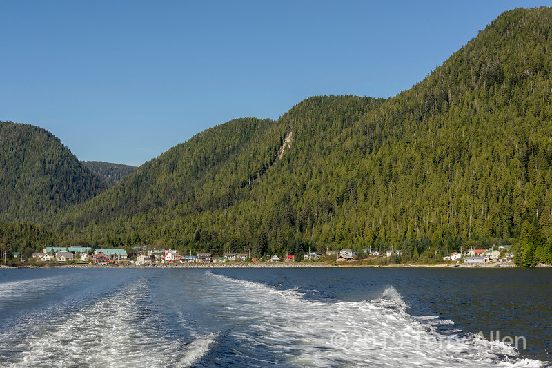 Douglas Channel looking back at Hartley Bay, British Columbia