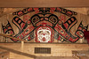 Spirit bear design in beautiful Giga'at mural, longhouse, Hartley Bay, British Columbia