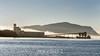 Prince Rupert grain terminal with ship 'Theresa Jiangsu' and fog bank, Kaien Island, British Columbia