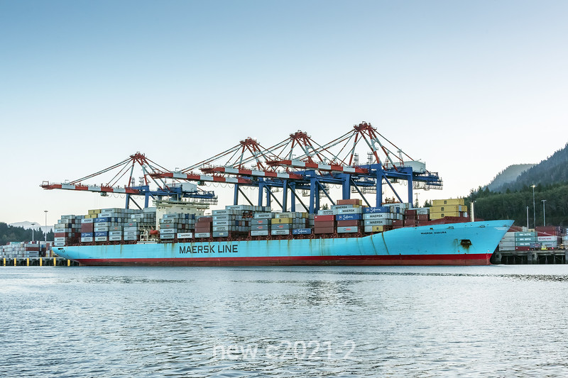 Maersk Kokura loaded up with containters at the Fairview container terminal, Prince Rupert, British Columbia