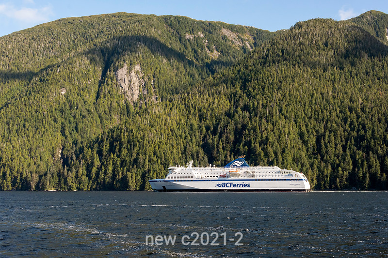 BC Ferries 'Northern Expedition' in Grenville Channel with rugged coastline, north coastal British Columbia