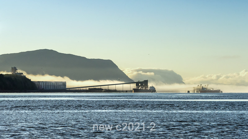Prince Rupert bulk handling terminal (coal, grain) in the morning fog, Kaien Island, British Columbia