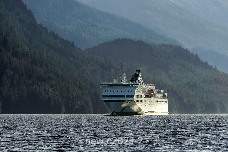 BC Ferries 'Northern Expedition' in Grenville Channel with wave reflections, north coastal British Columbia