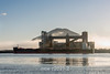 Prince Rupert grain terminal with bulk carrier 'Theresa Jiangsu' and fog bank, Kaien Island, British Columbia