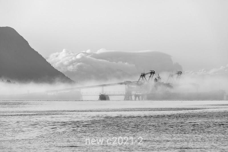 Ridley Terminals coal terminal in a fog bank, BW, Kaien Island, Prince Rupert, British Columbia