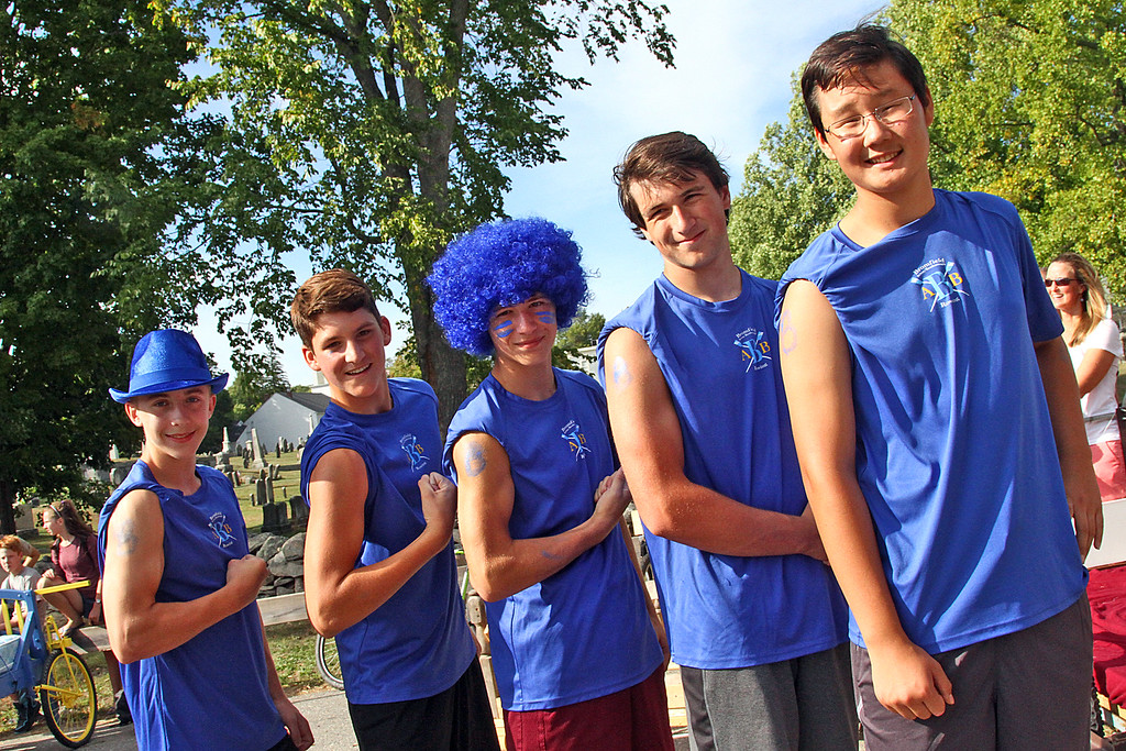 . Members of the Row-Row-Your Bed Team after the race, L-R, Christopher Clark,14, Will Bardenheuer,14, Charlie Carbonell,14, Isaiah Osborn,15 and Zack Myers,14, all from Harvard. Nashoba Valley Voice Photo by David H. Brow