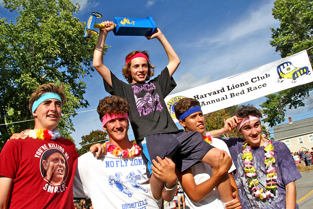 . The Flamingos Team holds up their 1st place prize, L-R, Baylor Ashe,15, Connor O\'Shea,16, on top is Gabriel Sennott,15 (nick name is Mr. Randy Lahey), Oliver Smalanskas,15, and Hunter Carroll,15. Nashoba Valley Voice Photo by David H. Brow