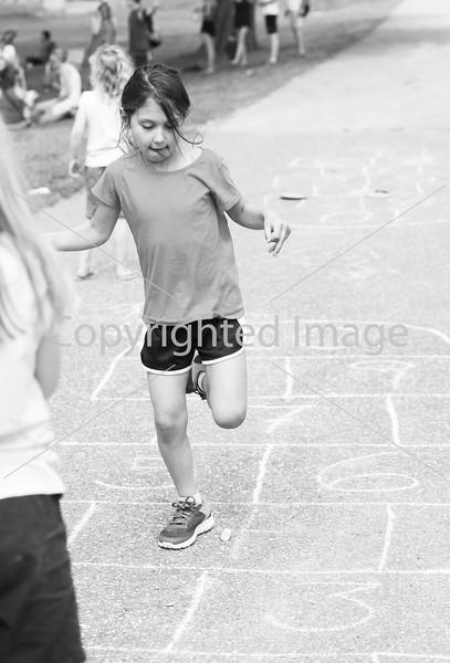 Morgan Smith plays hopscotch.