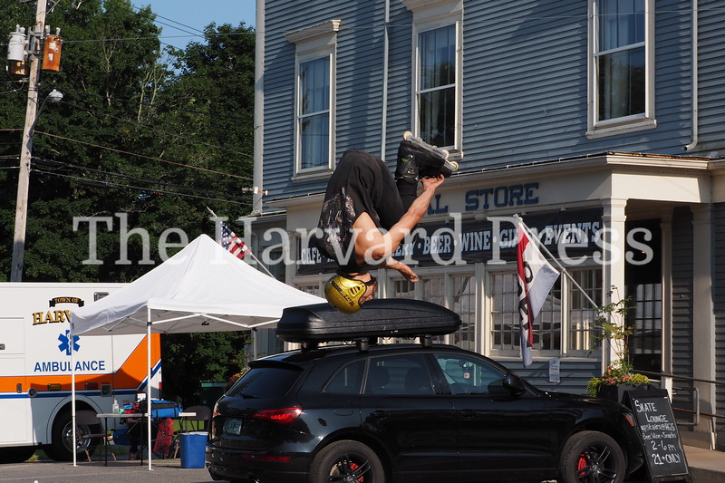 2019 Central Mass Skateboard Festival<br /> Inline skater Sascha Simms of Keene NH and Thuro Skate shop of Brookline MA thrilled the crowd with his high flying flips off the kicker ramp.