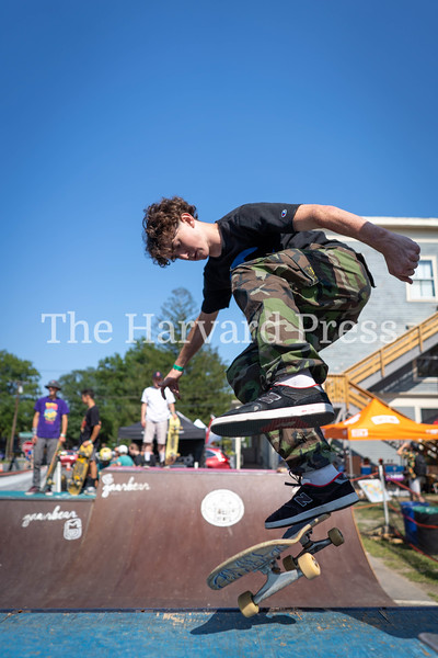 2019 CMASS Skate Fest <br /> Photo By Rob Williams<br /> Eamon Durkan does a kick flip rock to fakie during the mini ramp jam