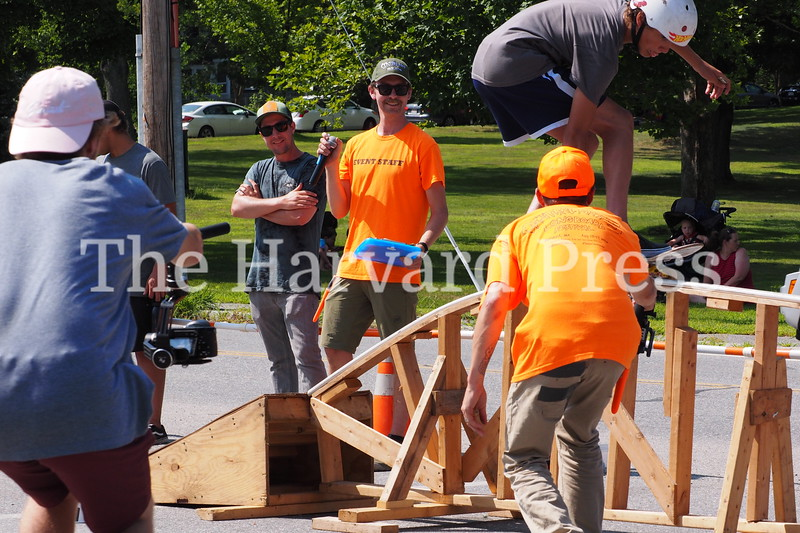 """2019 Central Mass Skateboard Festival<br /> Founder and MC Mike Girard judge the """"rainbow ramp"""" street skate session"""