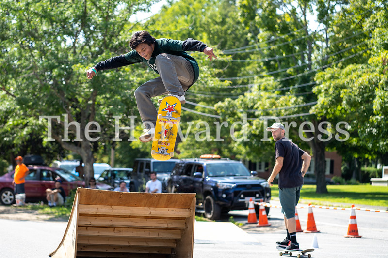 2019 CMASS Skate Fest <br /> Photo By Rob Williams<br /> Max Chadran of Harvard airs out the kicker ramp during the longest jump contest