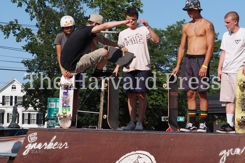 2019 Central Mass Skateboard Festival<br /> Jacob Jensen of Rochester MA goes for the big grab<br /> with a front side boneless