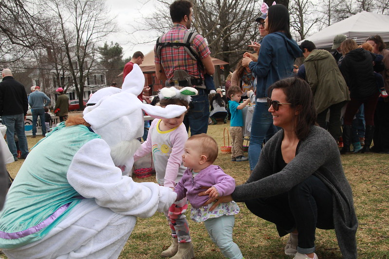 Hayes Callaghan introduces her little sister, Ellie, to the Easter Bunny.