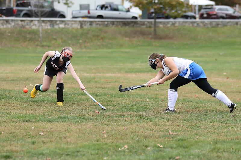 Senior Olivia Lindo powers the ball past her opponent. (Photo byLisa Aciukewicz)