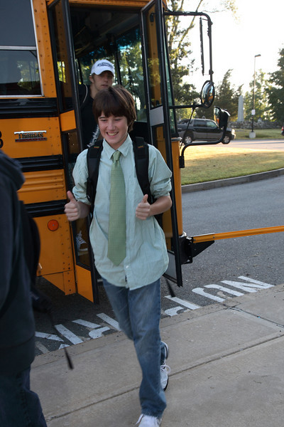 Freshman Christian Krug sports a tie on his first day back at Bromfield.