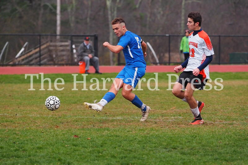Bromfield Men's Soccer Win 5-0<br /> November 5, 2019 at Harvard Park<br /> Bromfield Vs David Prouty Panthers<br /> <br /> Will Armstrong fires off a shot scoring the second goal of the game.