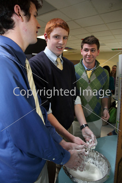 From left: Zac Clements, Mike Chadwick, and Mike Childs demonstrate their non-Newton fluids.