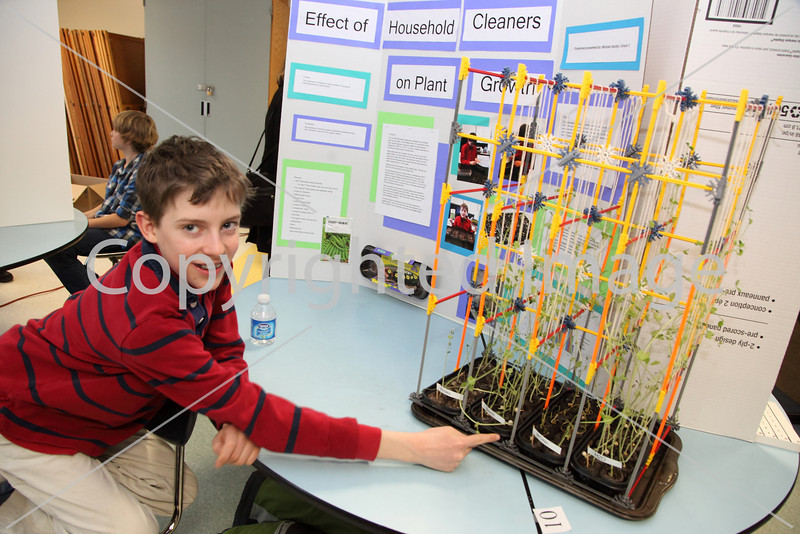 """Michael Jacoby shows off the effects of household cleaners on the growth of pea plants. Mr. Clean and Windex were hands-down losers to a """"green"""" cleaner, Shaklee's Basic H2 and water."""