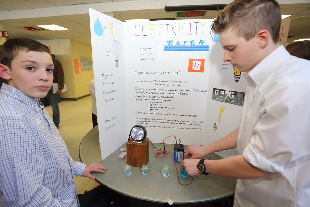 Holden Lee (left) and Jack Hunnewell experimented with how well water and other liquids conduct electricity.