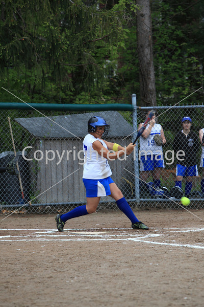 Brittany Lee hits a grounder in a game against Maynard.