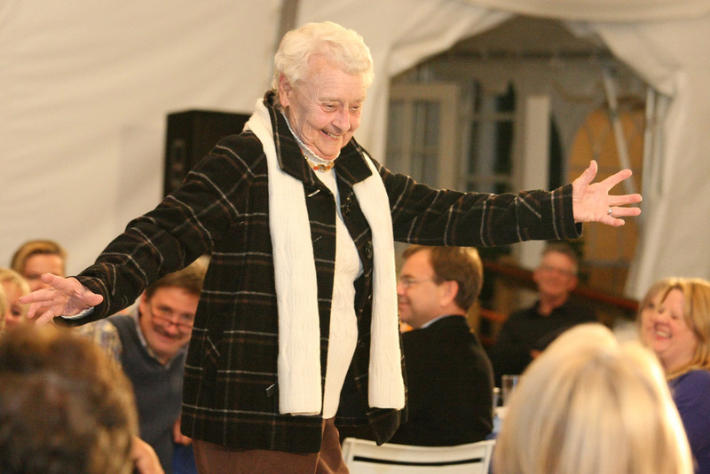 Connie von Loesecke shows off a plaid coat by 600 West.
