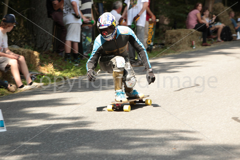 Steve Sanchez competes in the downhill in full leathers to protect himself in case of a fall.