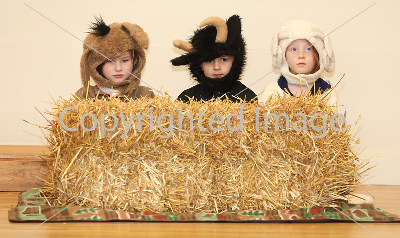 From left: Violet Pyne, Jayden Kahn, and Maggie Morton as the stable <br /> animals.