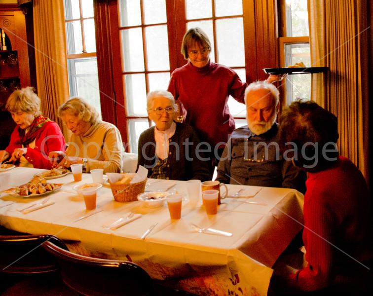 Connie Larrabi serves (L to R):  Marie Finnegan, Buddy Schmidt, Barbara Henderson, Warren Henderson, (didn't get far Right)