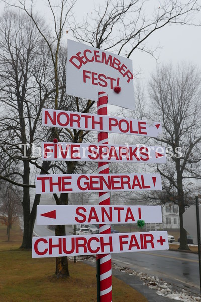 December Fest<br /> Lunch with Santa<br /> Holiday Market at the General<br /> Craft Fair at Five Sparks<br /> <br /> December Fest 2019 had so much going on, a signpost was installed for the day on the common.