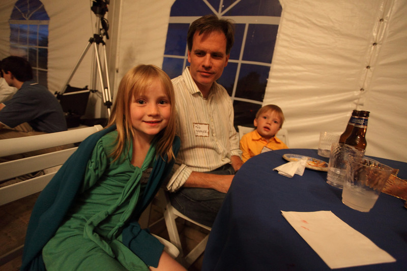 Meredith, Rob, and Isaac Greayer wait patiently for their favorite model, Rochelle Greyear (not shown).