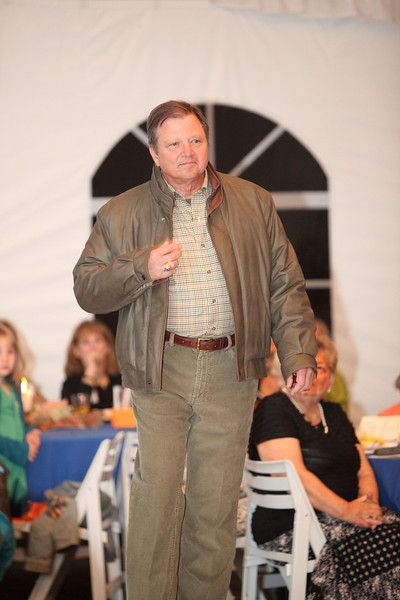 Chairman of the Board of Selectmen Ron Ricci models an ultra-lite leather jacket by Remy over a Tommy Bahama corduroy pant and Viyella shirt.