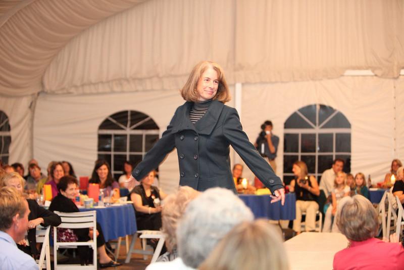School Committee member Patty Wenger in an R U Pretty pea coat.