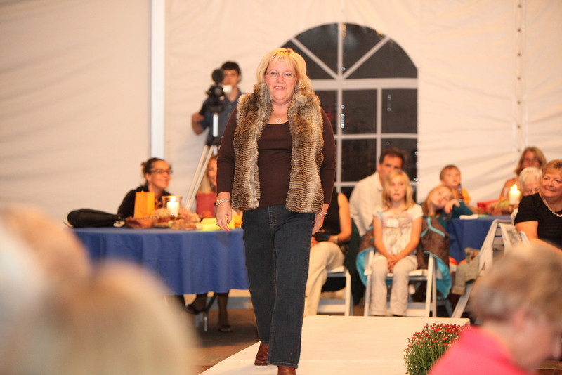 Karen Strickland shows off an animal print fur vest by Parkhurst along with a pair of Not Your Daughter's Jeans.