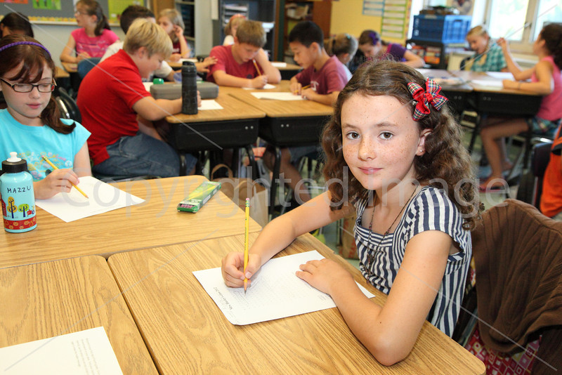 Lucy Richard is ready to learn in Mrs. Hurley's fourth-grade classroom.