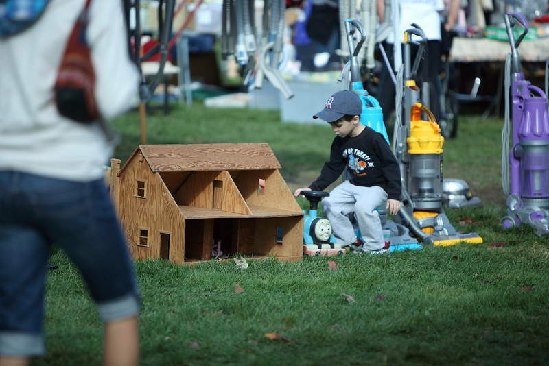 Four-year-old Andrew Magner of Andover finds a Thomas the Tank Engine treasure at the flea market.