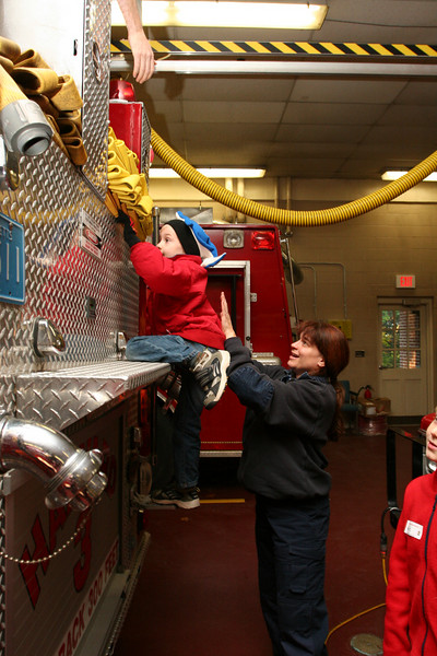 Will Squire gets a helping hand from firefighter Oona Aldrich.