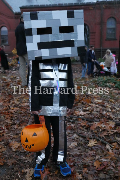Harvard Halloween 2019 Windy, rainy and warm.<br /> <br /> Ryan Guthro made great use of duct tape in making his Minecraft Skelton costume.