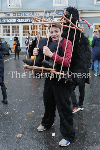Harvard Halloween 2019 Windy, rainy and warm.<br /> <br /> Max Berry was looking for handouts after being caged up by his simian captor.