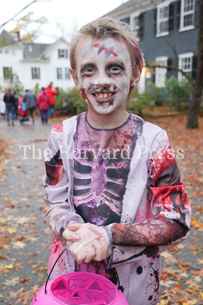 Harvard Halloween 2019 Windy, rainy and warm.<br /> <br /> Happily undead Sean Niland heads out for a night on the town.