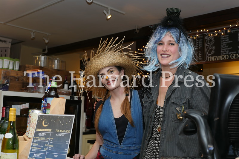 Harvard Halloween 2019 Windy, rainy and warm.<br /> <br /> The General Store was a refuge in the mixed weather.  Manager Bethanie Greenaway and Asst, Mgr. Liza Fischer greeted parents looking for a respite amidst the chaos.