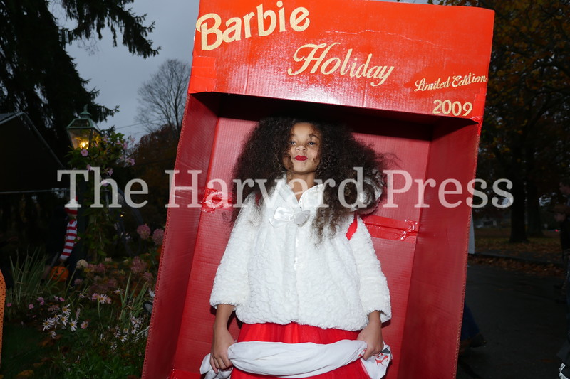 Harvard Halloween 2019 Windy, rainy and warm.<br /> <br /> Ella Turpia was on display as a vintage Barbie Holiday collectable.