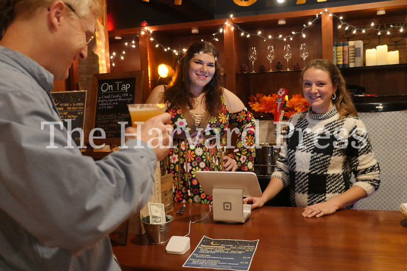 Harvard Halloween 2019 Windy, rainy and warm.<br /> <br /> Upstairs at the General cozy place in the storm with Events Manager Lindsey Barreson and Riana Nazzaro had several treats on tap for the evening.