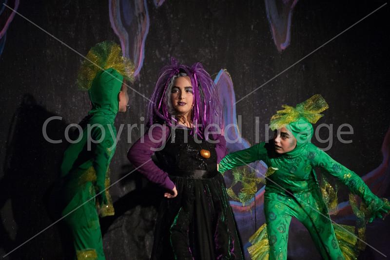 Ursula played by Cecilia Juliano and the Eel's Flotsam and Jetsam played by Stella Pritchard and Savannah Senykoff
