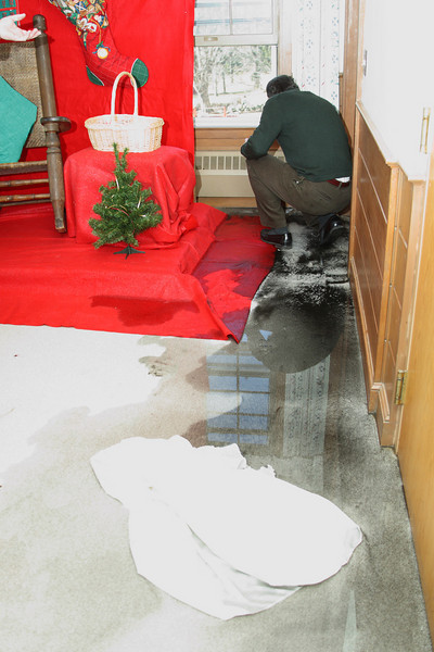 An eleventh-hour burst heating pipe almost postponed Santa's lunch last Saturday.
