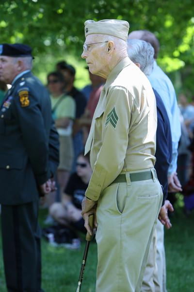Bill Doe listens to the Memorial Day speech by Peter von Loeseke.