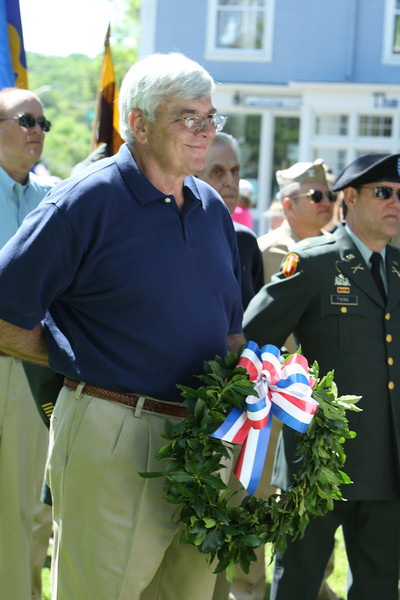 Jack Guswa holds a wreath during the Memorial Day parade.